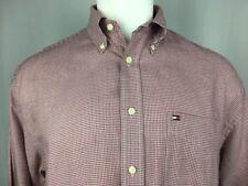 Tommy Hilfiger Red Check Button-Down Dress Shirt 100% Cotton Medium 15.5 x 34/35