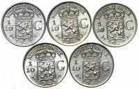Niederländisch Indien KONVOLUT 5 Münzen - 1/10 Gulden 1941-1945 Silber UNC - LOT