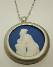 "Authentic Wedgwood- Round Necklace - ""Woman Thinking""  Blue Jasperware"