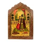 Antique 19th Century Qajar Hand Painted Lacquered Covered Mirror