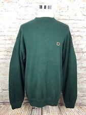 Vintage Tommy Hilfiger Crest Logo Mens Green Pullover Long Sleeve Sweater XL