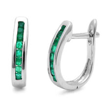 0.50  ct  Green Emerald Hoop Earrings, UK Hallmarked White Gold