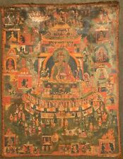 19th CENTURY ANTIQUE TIBETAN PADMASAMBHAVA COPPER MOUNTAIN THANGKA PAINTING