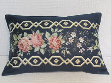 Luxury Cushion Cover, Floral, Navy Blue, Roses, Pinks, Leaves, Greens. .