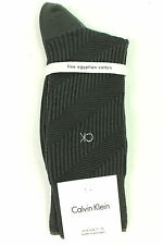 New Calvin Klein Diagonal Textured Cotton Blend Storm Gray Crew Dress Socks