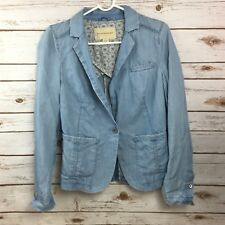 Pilcro And The Letterpress Anthropologie Newsy Chambray Blue Jacket Size XS