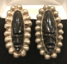 R.A. D.F. 925 Mexico with Eagle Mark Sterling Silver/CarvedOnyx Earrings
