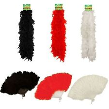 Dressed Feather Boa + Feather Burlesque Hand Fan Perfect Fancy Dress Accessories