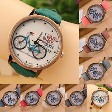 Fashion Women Wristwatch Casual Watches Cartoon Bike Canvas strap Watches