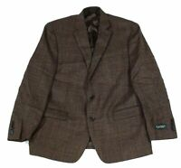 Lauren by Ralph Lauren Mens Sport Coat Brown Size 44 Long Plaid Wool $375 #095
