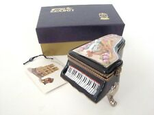 Limoges Box - Gorgeous Black Grand Piano with Musical Motif Top