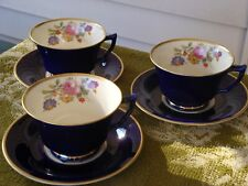 3 Vintage ' Old Ivory Syracuse China  COBALT Cup and Saucer
