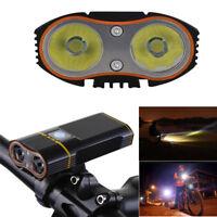 Waterproof Bike Bicycle Front Light USB Flashlight Cycling 2* 18650 Lamp Torch