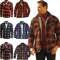 New Mens Branded  Flannel Fleece Fur Lined Cotton Work Shirts Lumberjack Check