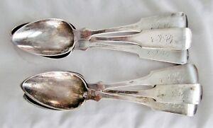 Set/6 ATQ Wm Smith Colonial American 900 Silver Coin FiddleBack Tea Spoon 96grms