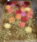 Rya Shag Area Rug In Brown, Orange, Red Yellow Blossoms Design 1930's 6'x9'