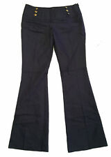 JANE NORMAN blue sailor cotton stretch pants boot cut trousers slacks gold US 10