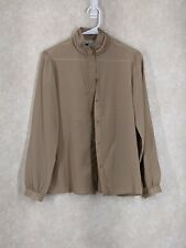 Howard Wolf sheer Blouse vintage button up tan beige blouse shirt long sleeve