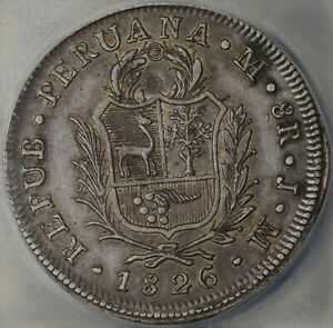 1826 ICG XF 45 Peru 8 Reales Lima Standing Liberty Shield Silver Coin (21061203C
