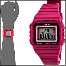 Casio Unisex W215H-4AV Classic Pink Red Digital Watch 50M WR LED Light New