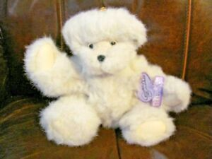 """Annette Funicello Vintage Angel Teddy Bear  10"""" white with gold wings & ear pin"""