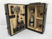 Manhattan Deluxe Cocktail Carrying Case Handle Brown Leather Picnic Time Legacy