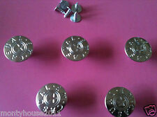 New!!5 x 17mm Press/Hammer On Sliver Denim Jeans Buttons with Pins