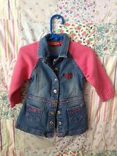 US PoloAssn. sz. 12 months front snap denim/pink sweater sleeves jacket Cute!