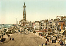 "P24 Vintage 1890's Photochrom Photo Blackpool Tower Promenade - Print A3 17""x12"""