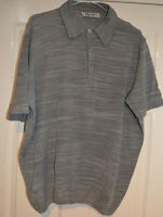 REPORTER ~ITALY SMART DESIGNER GREY FITTED KNITTED LIGHTWEIGHT POLO SHIRT L