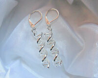 Stering Silver DNA Spiral Helix Leverback Drop Dangle Earrings