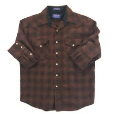 Pendleton Mens Flannel Western Cowboy Shirt Brown Plaid Pearl Snap Merino Wool M