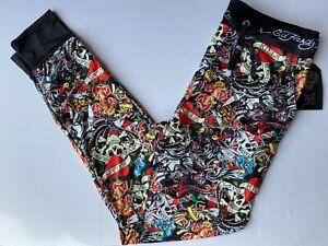 Ed Hardy Mens Lounge Pants Black Colorful New S M L XL Tattoo Pajamas Skull Rose