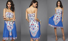 Strapless Boho Bohemian Style Slip on Print Dress. Brand new! Blue in s/m or l/x
