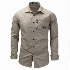 Men's Military Army Cargo Casual Shirts Slim Fit Long Sleeve Tactical Work Shirt