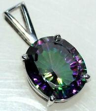 Sterling SILVER FIRE Mystic Quartz Pendant, Purple Green Gemstone 925 Jewellery