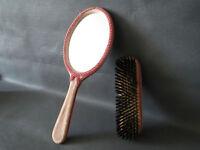 Ancien petit miroir face à main de poche avec brosse vintage french antique
