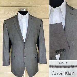 Calvin Klein Mens 42R Gray Slim Fit Two Button Blazer Sport Coat Suit Jacket