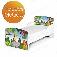 JUNGLE ANIMALS DESIGN MDF TODDLER BED & FULLY SPRUNG MATTRESS