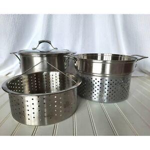 Calphalon 8 qt Stock Pot Lid Strainer & Steamer Basket Stainless Aluminum Core