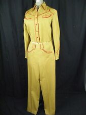 Rare NATHAN TURK Vtg early 40s Women Mustard Red Western Shirt & Pant Set-XS-S