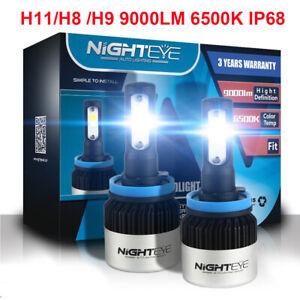 Nighteye 2x H8 H9 H11 LED  Scheinwerferlampe Licht 72W 9000LM Canbus 6500K Weiß