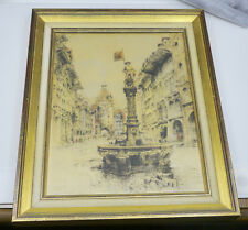 FRAMED HAND COLORED PAUL GEISSLER ETCHING ON SILK, BERN SWITZERLAND, FOUNTAIN