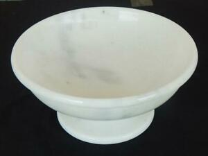 Handmade White Color Marble Stone Round Shape Bowl With Base For Home Decoration