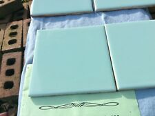 "Vtg Reclaimed 4-Teal (light Blue/Green?) tile 4.25"" x 4.25"" -1950-1960s?"