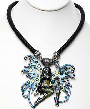 KIRKS FOLLY AVALON SPIDERELLA FAIRY WITCH BRAIDED CORD MAGNETIC NECKLACE silver