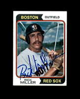 Rick Miller Hand Signed 1974 Topps Boston Red Sox Autograph