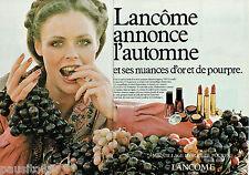 PUBLICITE ADVERTISING 115  1978  LANCOME  maquillage (2p) vernis rouge à lèvres