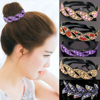 Women's Crystal Rhinestone Hair Clips Claw Clamp Bun Net Ponytail Holder Hairpin