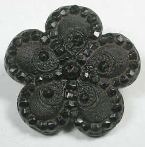 """Antique Black Glass Button Faceted Flower with Realistic Shape Design 1"""""""